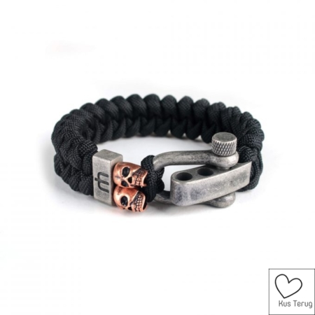 goedkope armband man dusty black skull