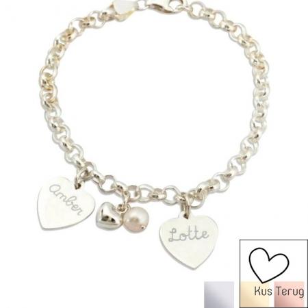 zilveren armband jasseron met 2 naambedels en parel en hartje kusterug