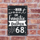 naambord in handlettering Familie van Diepen