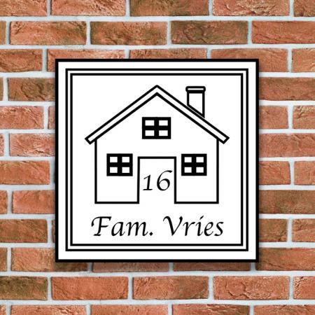 naamplaat met een huisje