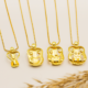 moeder ketting en 2 kinderen hanger in goud